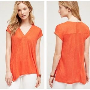 Anthropologie Meadow Rue Linen V Neck Top Small